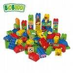 BiOBUDDi - Educational blocks with 2 baseplates (Red) - Eco Friendly Block Set - 60 Blocks